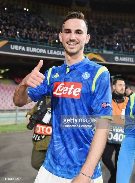 Fabian Ruiz player of SSC Napoli celebrates the victory after the UEFA Europa League Round of 16 First Leg match between SSC Napoli and Red Bull...