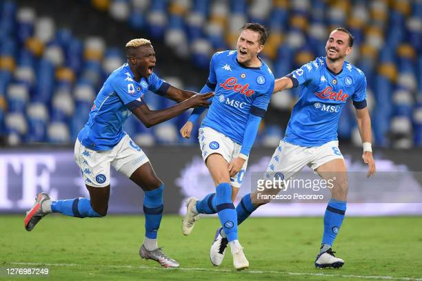 Fabian Ruiz Victor Osimhen and Piotr Zielinski of SSC Napoli celebrate the 20 goal scored by Piotr Zielinski during the Serie A match between SSC...