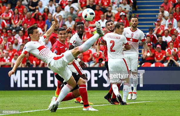 Fabian Schaer of Switzerland clears the ball during the UEFA EURO 2016 Group A match between Albania and Switzerland at Stade BollaertDelelis on June...
