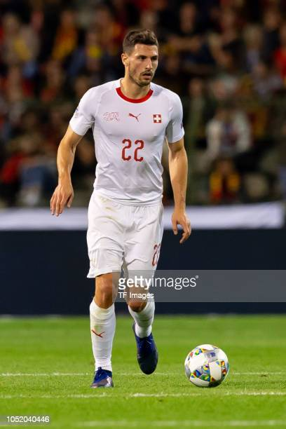 Fabian Schaer of Switzerland controls the ball during the UEFA Nations League A group two match between Belgium and Switzerland at Roi Baudouin...