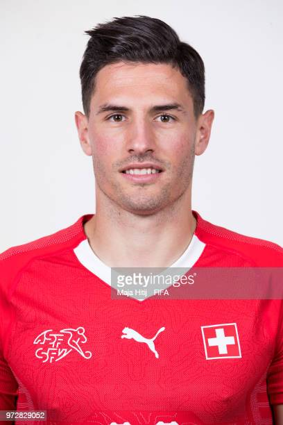 Fabian Schaer of Switzerland poses for a portrait during the official FIFA World Cup 2018 portrait session at the Lada Resort on June 12 2018 in...