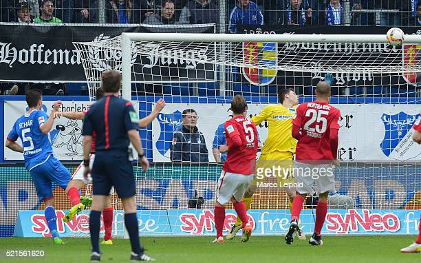Fabian Schaer of TSG 1899 Hoffenheim scores the 11 against Rune Almenning Jarstein of Hertha BSC during the Bundesliga match between 1899 Hoffenheim...
