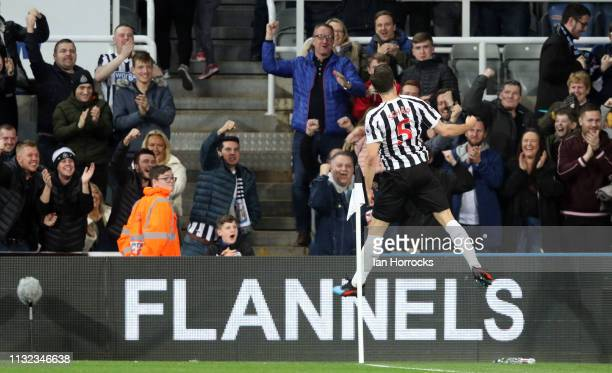 Fabian Schar of Newcastle celebrates scoring the opening goal during the Premier League match between Newcastle United and Burnley FC at St James...