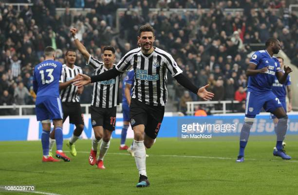 Fabian Schar of Newcastle United celebrates after he scores his sides third goal during the Premier League match between Newcastle United and Cardiff...