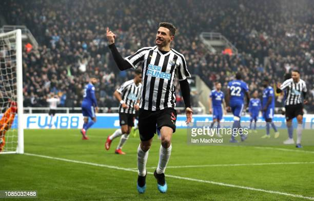 Fabian Schar of Newcastle United celebrates after scoring his team's second goal during the Premier League match between Newcastle United and Cardiff...