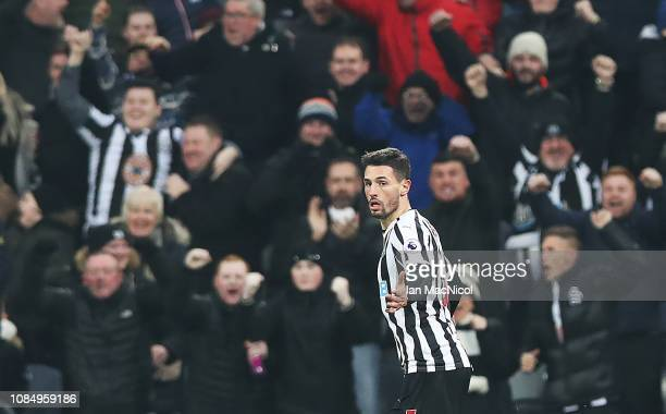 Fabian Schar of Newcastle United celebrates scoring his sides opening goal during the Premier League match between Newcastle United and Cardiff City...