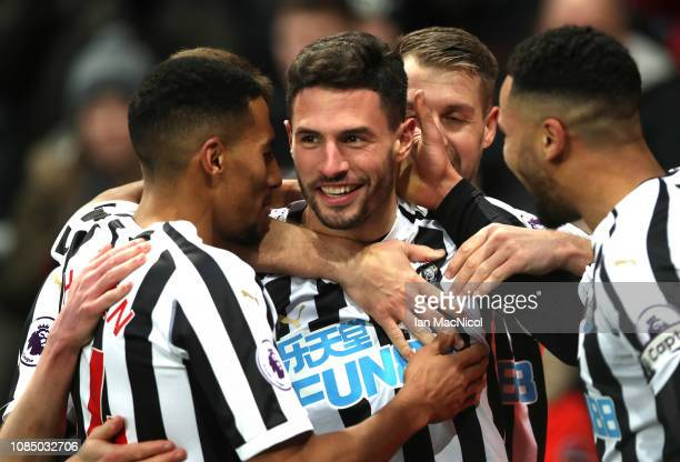 Fabian Schar of Newcastle United celebrates with teammates after scoring his sides second goal during the Premier League match between Newcastle...