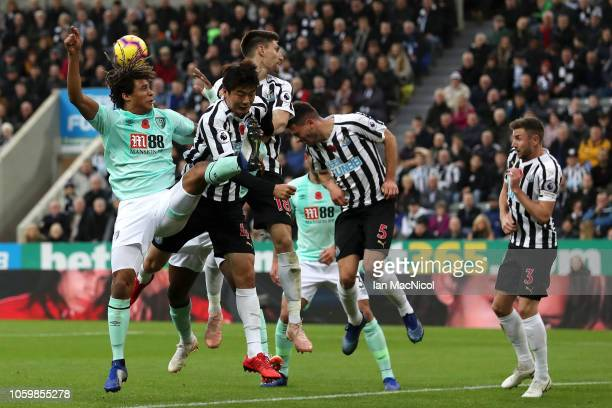 Fabian Schar of Newcastle United headers the ball clear during the Premier League match between Newcastle United and AFC Bournemouth at St James Park...