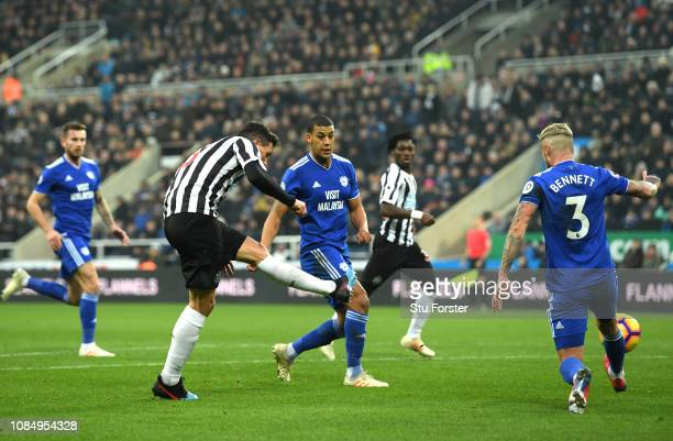 Fabian Schar of Newcastle United scores his team's first goal during the Premier League match between Newcastle United and Cardiff City at St James...