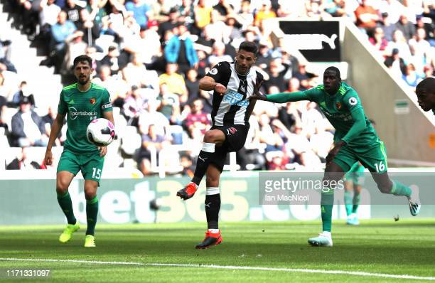 Fabian Schar of Newcastle United scores his team's first goal during the Premier League match between Newcastle United and Watford FC at St James...