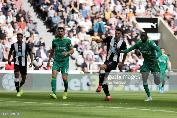 Fabian Schar of Newcastle United scores his team's first goal during the Premier League match between Newcastle United and Watford FC at St. James...