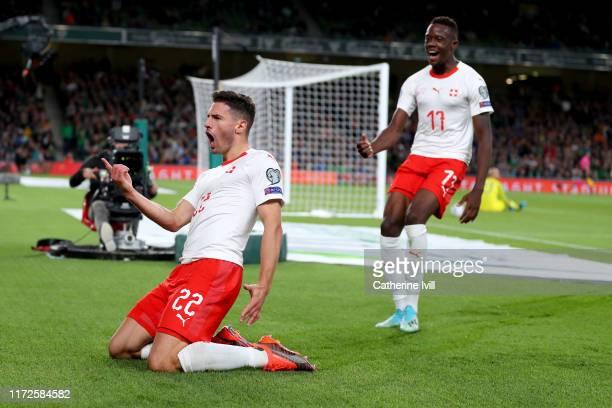 Fabian Schar of Switzerland celebrates his goal during the UEFA Euro 2020 qualifier between Republic of Ireland and Switzerland at Aviva Stadium on...