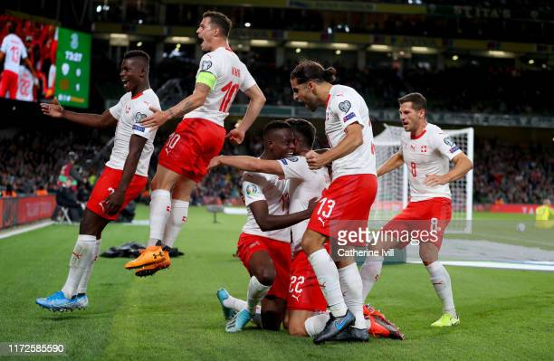 Fabian Schar of Switzerland celebrates his goal during the UEFA Euro 2020 qualifier between Republic of Ireland and Switzerland at Aviva Stadium on...