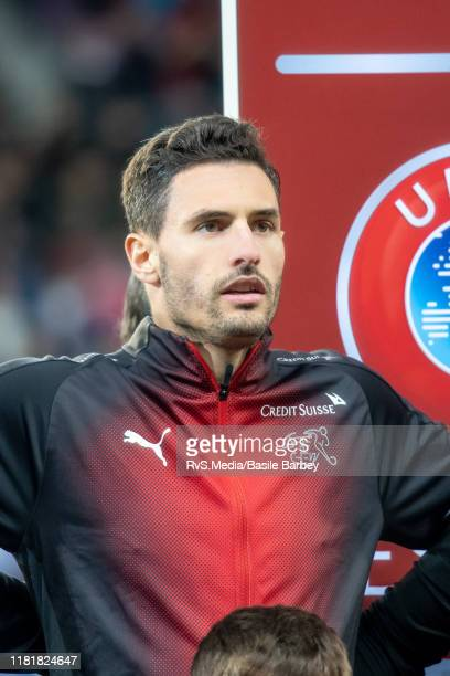 Fabian Schar of Switzerland looks on during the Swiss national anthem prior to the UEFA Euro 2020 qualifier between Switzerland and Republic of...