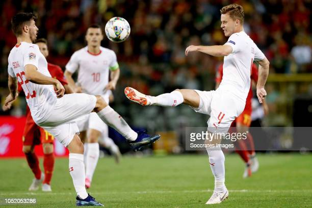 Fabian Schar of Switzerland Nico Elvedi of Switzerland during the UEFA Nations league match between Belgium v Switzerland at the Koning...