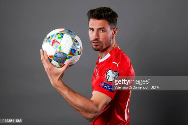 Fabian Schar of Switzerland poses for a portrait during the UEFA Nations League Finals Portrait Shoot on June 02 2019 in Zurich Switzerland
