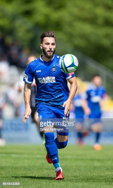 Fabian Schleusener of Karlsruhe controls the ball during the 3 Liga match between VfR Aalen and Karlsruher SC at Ostalb Arena on May 5 2018 in Aalen...