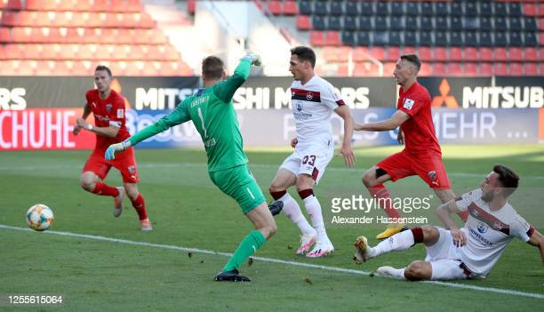 Fabian Schleusener of Nuremberg scores his teams first goal during the 2 Bundesliga playoff second leg match between FC Ingolstadt and 1 FC Nürnberg...