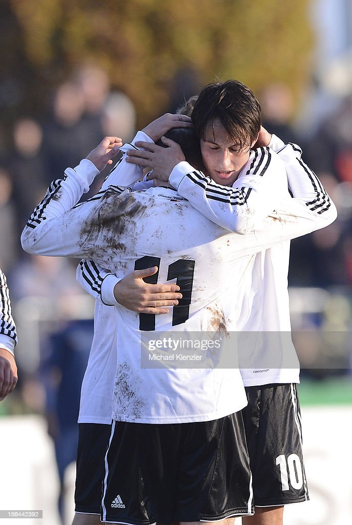 Fabian Schnellhardt (R) and Thomas Pledl of Germany celebrate the third goal during the International Friendly match between U19 Germany and U19 France at Rheinstadium on November 14, 2012 in Kehl, Germany.