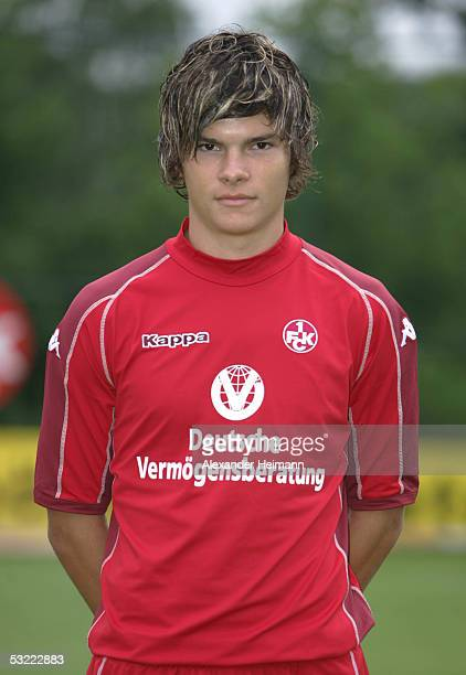 Fabian Schoenheim looks in the camera during the team presentation of 1FC Kaiserslautern for the Bundesliga season 2005 2006 on July 10 2005 in...