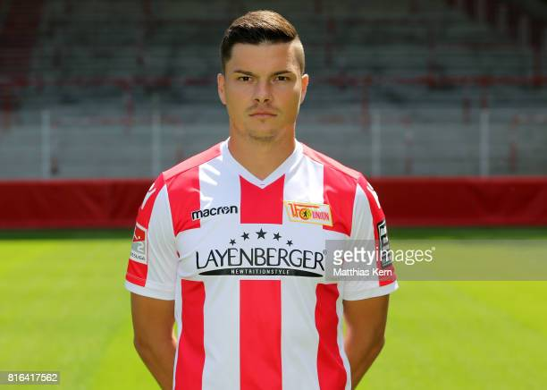 Fabian Schoenheim of 1 FC Union Berlin poses during the team presentation at Stadion an der Alten Foersterei on July 17 2017 in Berlin Germany