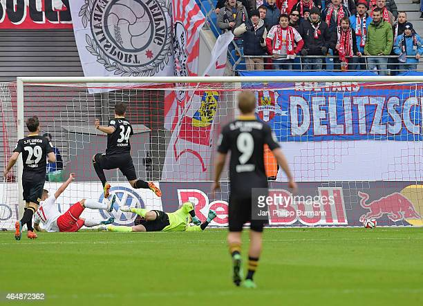 Fabian Schoenheim of 1 FC Union Berlin scores the 2:1 during the game between RB Leipzig and 1 FC Union Berlin on March 1, 2015 in Leipzig, Germany.
