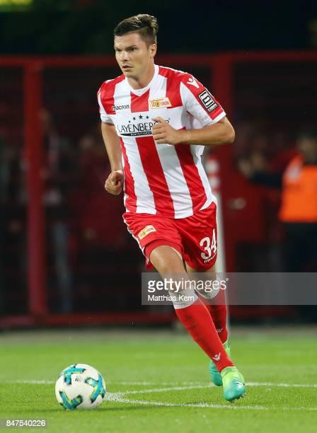 Fabian Schoenheim of Berlin runs with the ball during the Second Bundesliga match between 1 FC Union Berlin and Eintracht Braunschweig at Stadion An...