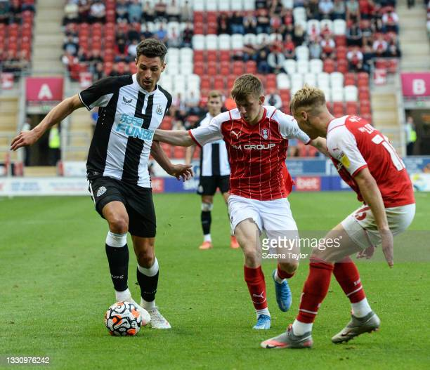 Fabian Schär of Newcastle United FC controls the ball during the Pre Season Friendly between Rotherham United and Newcastle United at AESSEAL New...