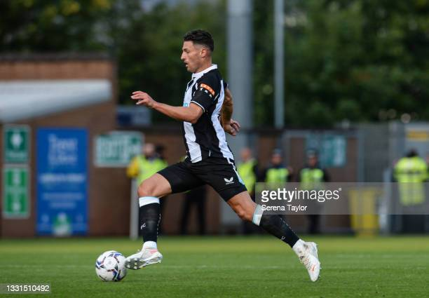 Fabian Schär of Newcastle United FC runs with the ball during the Pre Season Friendly between Burton Albion and Newcastle United at the Pirelli...