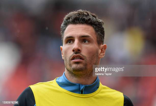Fabian Schär of Newcastle United FC warms up during the Pre Season Friendly between Rotherham United and Newcastle United at AESSEAL New York Stadium...