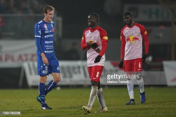 Fabian Schubert of Hartberg Diadie Samassekou of RB Salzburg and Jerome Onguene of RB Salzburg during the tipico Bundesliga match between TSV...