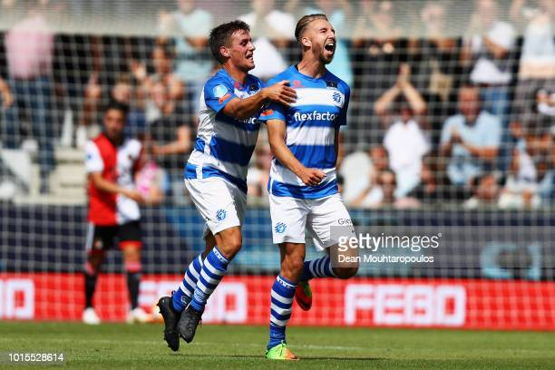 Fabian Serrarens of De Graafschap celebrates scoring his teams first goal of the game during the Eredivisie match between De Graafschap and Feyenoord...