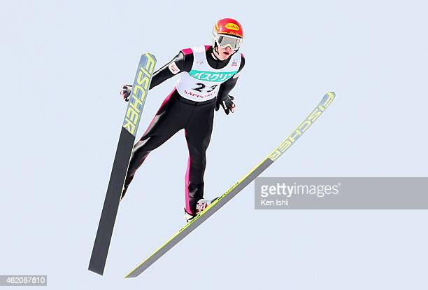 Fabian Steindl of Austria competes in the LH Individual Gundersen during the day two of FIS Men's Nordic Combined World Cup at Okurayama Ski Jump...