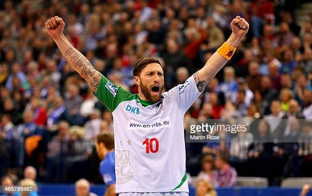 Fabian van Olphen of Magdeburg celebrates during the DKB Bundesliga handball match between HSV Handball and SC Magdeburg at O2 World on March 10 2015...