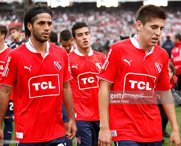 Fabian Vargas Francisco Pizzini and Lucas Villalba of Independiente lament after a match between River Plate and Independiente as part of the Torneo...