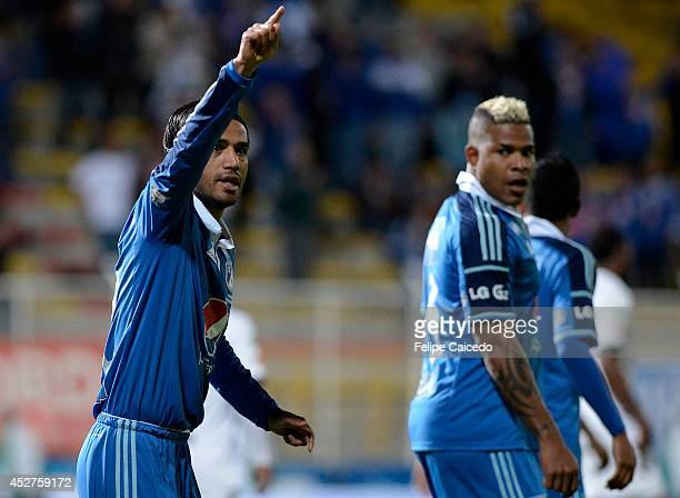 Fabian Vargas of Millonarios celebrates a scored goal against Equidad FC during a match between Millonarios and Equidad FC as part of the Liga...
