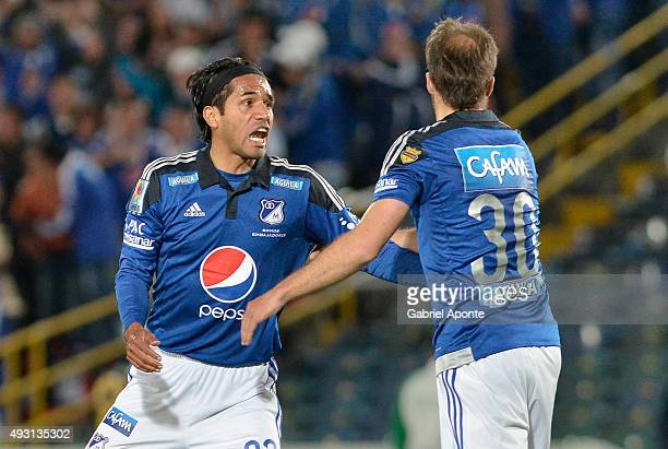 Fabian Vargas of Millonarios celebrates after scoring the first goal of his team during a match between Millonarios and Jaguares FC as part of round...