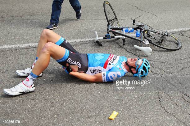 Fabian Wegmann of Germany and GarminSharp crashes out of the race during the eleventh stage of the 2014 Giro d'Italia a 249km medium mountain stage...