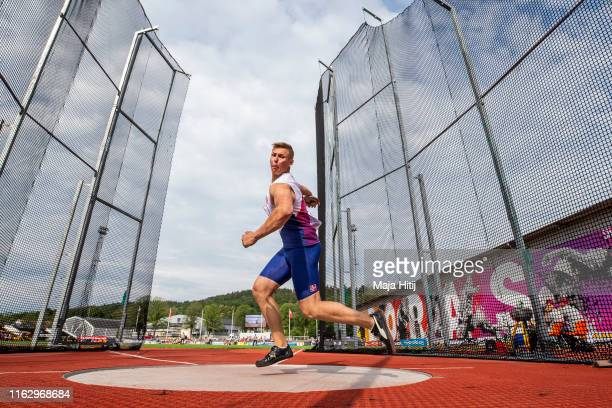 Fabian Weinberg of Norway competes during Discus Throw Men Qualifying on July 19, 2019 in Boras, Sweden.