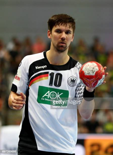Fabian Wiede of Germany in action against Switzerland during the 2018 EHF European Championship Qualifier between Germany and Switzerland at OVBArena...