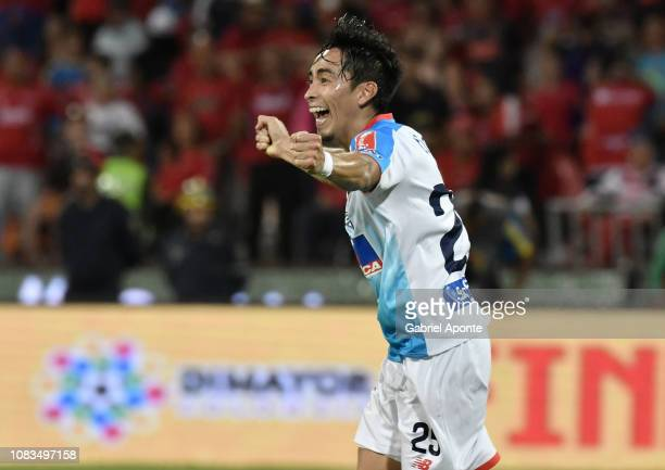 Fabian Zambueza of Junior celebrates winning the Torneo Clausura Liga Aguila 2018 after the second leg final match of the Torneo Clausura Liga Aguila...