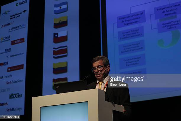 Fabian Zampone director of financial and foreign exchange institutions for the Central Bank of Argentine Republic speaks during the 50th Anniversary...