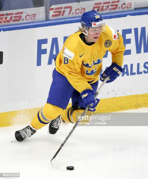 Fabian Zetterlund of Sweden skates against the United States during the first period of play in the IIHF World Junior Championships Semifinal game at...