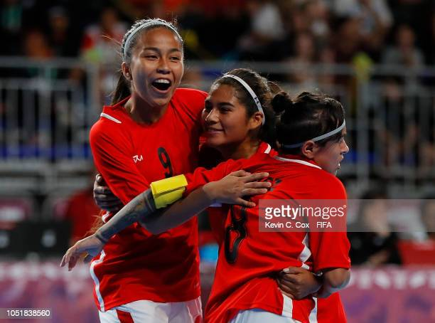 Fabiana Alvarez of Bolivia celebrates scoring the first goal against Thailand in the Women's Group C match between Bolivia v Thailand during the...