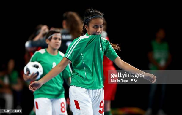 Fabiana Alvarez of Bolivia reacts in the Women's Futsal semi final match between Portugal and Bolivia during the Buenos Aires Youth Olympics 2018 at...