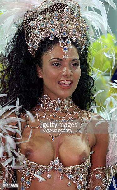 Fabiana Borges of the Unidos da Tijuca samba school performs 06 March 2000 during the annual carnival parade in Rio de Janeiro Brazil A kaleidescope...