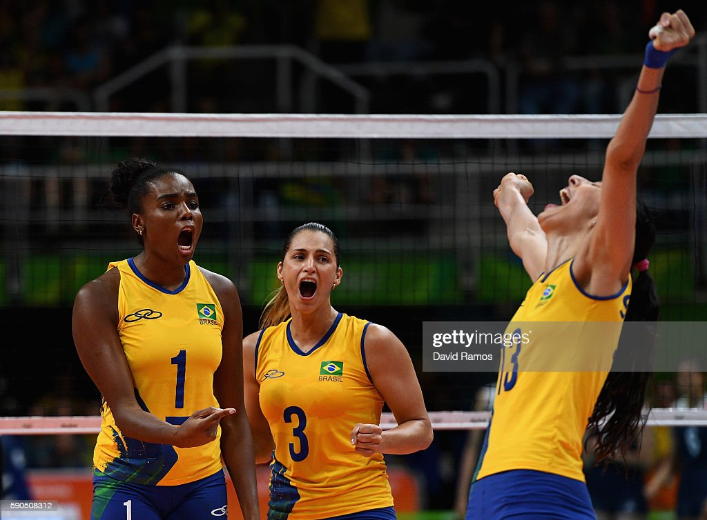 Fabiana Claudino, Danielle Lins and Sheilla Castro de Paula Blassioli of Brazil react during the Women's Quarterfinal match between China and Brazil on day 11 of the Rio 2106 Olympic Games at the Maracanazinho on August 16, 2016 in Rio de Janeiro, Brazil.