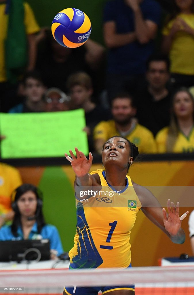 Fabiana Claudino #1 of Brazil in action during the Women's Quarterfinal match between China and Brazil on day 11 of the Rio 2106 Olympic Games at the Maracanazinho on August 16, 2016 in Rio de Janeiro, Brazil.