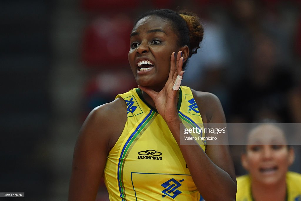 Fabiana Claudino of Brazil reacts during the FIVB Women's World Championship pool F match between Brazil and Kazakhstan on October 1, 2014 in Verona, .