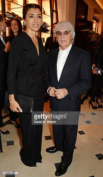 Fabiana Flosi and Bernie Ecclestone attend an event hosted by Naomi Campbell Burberry and TASCHEN to celebrate the launch of 'Naomi' at Burberry's at...